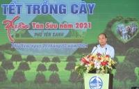 Thủ tướng Chính phủ Nguyễn Xuân Phúc phát biểu tại lễ phát động Tết trồng cây đời đời nhớ ơn Bác Hồ xuân Tân Sửu năm 2021 tại Phú Yên